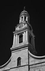 St. Joseph's Church (infrared) (dr_marvel) Tags: ny newyork ir rochester infrared sky blackandwhite black monochrome stjosephschurch stjosephs church steeple tower clocktower clock kodak eastmankodak film photography setwatch skyward upward