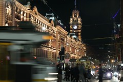 Flinders Street, Melbourne (Joe Lewit) Tags: planart1485 melbourne flindersstreetstation trams traffic commuters
