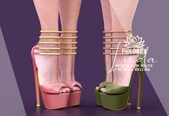 """Phedora. for FaMESHed X - """"Linda"""" heels ♥ (Celena Galli ~ phedora.) Tags: sl secondlife second life phedora 3d mesh shoes brand heels platforms shoewear womenswear pumps woman women sexy sassy stylish classy cute chic kinky kawaii fashion event monthly events original content 100mesh new release newrelease meshbody hud multihud maitreya lara belleza isis freya slink hourglass physique shopping shopaholic shappaholic straps ankle booties streetwear ankleboots urban funky heel strappy style strappyheels kinkyyy avatar female femaleavatar femaleavi footwear metallic fameshed fameshedx cuffs"""