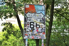 0U1A3758 - 05JUL - Chicago Route 66 sign, with sticker vandalism (colinLmiller) Tags: 2019 colinlmiller chicago illinois route66 sign sticker vandalism