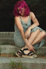 Pynk Like... 18 (Abbie Stoner) Tags: pink hair girl model woman portrait trees lake reservoir dagger tattoo moody pynk summer