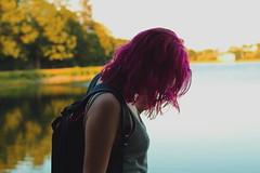 Pynk Like... 1 (Abbie Stoner) Tags: pink hair girl model woman portrait trees lake reservoir dagger tattoo moody pynk summer