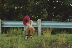 Pynk Like... 9 (Abbie Stoner) Tags: pink hair girl model woman portrait trees lake reservoir dagger tattoo moody pynk summer