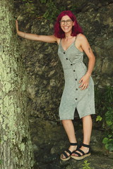 Pynk Like... 21 (Abbie Stoner) Tags: pink hair girl model woman portrait trees lake reservoir dagger tattoo moody pynk summer