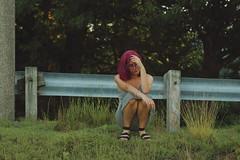 Pynk Like... 8 (Abbie Stoner) Tags: pink hair girl model woman portrait trees lake reservoir dagger tattoo moody pynk summer