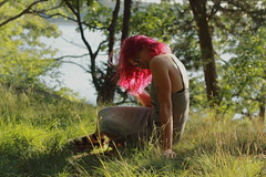 Pynk Like... 11 (Abbie Stoner) Tags: pink hair girl model woman portrait trees lake reservoir dagger tattoo moody pynk summer