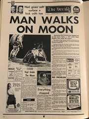 The Melbourne Herald- Monday July 21, 1969- Page 1 Home Edition- Apollo 11 Moon Landing and Walk (Vax80) Tags: apollo 11 moon landing nasa national aeronautics space administration july 1969 melbourne the herald newspaper neil armstrong edwin buzz aldrin michael collins saturn command service lunar module rocket cape canaveral kennedy australia united states america