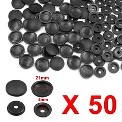 50 Set Black 4mm Dia Nut Screw Bolt Caps Cover Interior Decoration for Car (ostksite) Tags: unique bargains