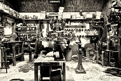 Shoe Repair Machinery (Alfred Grupstra) Tags: blackandwhite industry old factory machinery oldfashioned workshop working manufacturing equipment obsolete indoors metal nopeople cultures retrostyled people dirty shoes repair