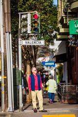 Valencia (Thomas Hawk) Tags: america bayarea california mission missiondistrict pocketman sf sfbayarea sanfrancisco scottjordan scottevest usa unitedstates unitedstatesofamerica valencia valenciastreet westcoast streetsign fav10
