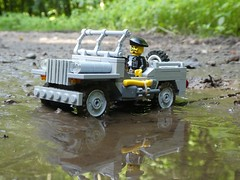 Willys Jeep (captain_j03) Tags: toy spielzeug 365toyproject lego minifigure minifig moc car auto jeep 6wide willysjeep puddle reflection