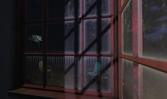 Insomnia (motobazzi) Tags: insomnia sleepless deprivation turmoil stress restlessness tense disquiet window shadow night nocturne chairs dirty desert wasteland motel fence sign muntin secondlife sl virtual sim region ll lindenlabs motobazzi mesh moonlight illumination luna sleazy southwest loneliness