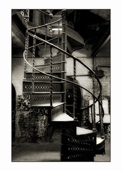 Stairs (blueP739) Tags: olympus om4 om1n olympusom om3ti om2sp om10 om1 om2n om3 olympusom1 orange olympusplustekplustek7200om4 plustek pussy plustek7200 stairs spiralstairs spiral sewer sewerage crossness bw blackwhite noiretblanc noirnoir noir sepia vivitar19mm xtol kentmere100 steam london thames thamesestuary thamesmead clockworkorange cellar basement iron