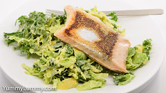 Sous vide salmon with Hollandaise kale, lettuce, and cabbage (garydlum) Tags: avocado cabbage hollandaisesauce kale lettuce salmon springonion canberra australiancapitalterritory australia