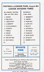 Blackburn Rovers vs Rochdale - 1972 - Back Cover Page (The Sky Strikers) Tags: blackburn rovers rochdale football league division three ewood park review official programme 7p