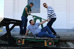 """Guys, that way!"" (srkirad) Tags: people friends men travel szolnok hungary reptar museum aviation rails riding draisine railway airmuseum"