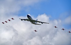 British Airways 100 Flypast (Nigel Musgrove-2.5 million views-thank you!) Tags: red with retro formation 400 british boeing airways 747 livery boac show uk england team force display hawk air jet royal gloucestershire arrows 100 passenger ba bae raf jumbo t1 aerobatic fairford riat 2019 gbygc queenoftheskies tattoo international