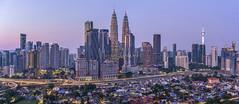 Panoramic view of sunrise at Kuala Lumpur (MEzairi) Tags: sunrise aerial kuala lumpur malaysia skyline cityscape city sony tamron a7iii asia dawn morning skyscraper klcc petronas twin towers kl
