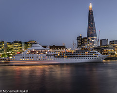 Berthing in London! (Mohamed Haykal) Tags: leica camera ag q2 280 mm f17 mohamed haykal river thames london uk tower bridge shard night reflection tourism cruise water nightspot lights vessel ship passenger cruising england city