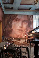 The Music Room (realstephenwhite) Tags: mural portrait abandoned interior decay derelict realstephenwhite art face rone stephenwhite empire painting streetart