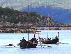 The Vikings are coming.... (Dave Russell (1.5 million views thanks)) Tags: festival island boat ship ships vikings viking isle bots arran tarbert sea water race eos harbor photo marine long harbour outdoor transport vessel row racing photograph maritime 7d rowing vessels longship longships photographycanon eos7d black eagle freydis