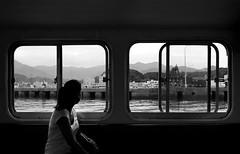 (cherco) Tags: woman solitario solitary silhouette shadow silueta street boat mountain frame lonely sombra sea japan kiikatsuura japon blackandwhite blancoynegro seat monochrome city tranquility simetria kumano