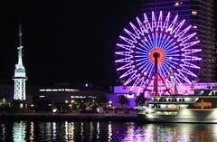 Kobe Ferris Wheel at Night (16) (F) (Richard Collier - Wildlife and Travel Photography) Tags: japan kobe ferriswheel nightimage reflection