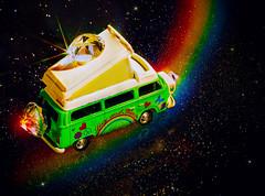 Starrider (Silke Klimesch) Tags: macro reflection car arcoiris vw photoshop volkswagen stars rainbow doubleexposure space estrela olympus raumschiff stele hippie spacetravel sciencefiction spaceship colourful bling van 1977 universe makro camper motorhome arcobaleno cosmos flickrfriends espace tabletop espaço regenbogen wohnmobil omd campervan minature arcenciel astronave sterne stelle spazio modellbau universo foreigner spurn raumfahrt weltraum swarovskicrystals nscale campingcar doppelbelichtung 1160 curcubeu miniatureworlds starrider scalemodelling espaçonave miniaturauto ètoile microfourthirds sliderssunday bullit2 mzuikodigitaled60mm128macro postprocessedtothemax em5markii glitzermoosgummi glitterfoamsheet luminar3 on1photoraw2019 autorulotă navăcosmică