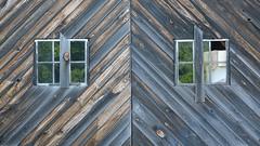 maine barn (jtr27) Tags: dscf8397xl jtr27 fuji fujifilm fujinon xt20 xf 50mm f2 f20 rwr wr maine barn door weathered wood herringbone reflection