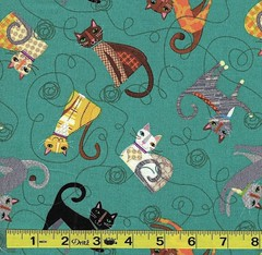 C-0311 Cat Walk teal SPX Fabrics Me-O-My (MyLittlePoppySeed) Tags: c0311 catwalk teal spxfabrics meomy spectrix tissu fabric cotton coton mylittlepoppyseed turquoise cat cats kitty kitties chat chats chatons yellow black brown jaune brun noir