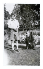 VINTAGE DOG AUGUST 1936 (JOHN MORGANs OLD PHOTOS.) Tags: vintage found photo different dog interesting unusual unknown unique bw black and white vintagephoto