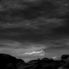Springtime Skies 013 (noahbw) Tags: az arizona d5000 nikon waterholecanyon abstract blackwhite blackandwhite bw canyon cliffs cloud clouds desert hills landscape minimal minimalism monochrome natural noahbw rock sky slotcanyon spring square stone