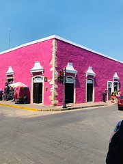 Vallodalid (StartTheDay) Tags: road street city pink light sky urban man color colour building rose architecture buildings catchycolors mexico town calle colorful bright rosa mexican colourful mexicanpink white wall paint painted