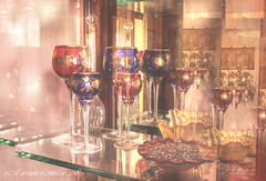 Blue and red stem glasses (mariasolelombardophotography) Tags: wine glass tableware stemware drinkware still life photography cupboard craftsmanship venice venetian reflection blue red food drink antique ancient stem vintage historical old murano stunning magic light lighting soft mirror shelf beauty beautiful indoors interior elegant classic decoration design colorful nostalgic composition bright treasury atmosphere attractive pattern transparent living room