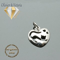 Pendentif chat allongé en argent 925 (olivier_victoria) Tags: argent 925 pendentif chat allongé