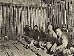 Interior of old style prison, Peking ca1918 [Gamble] (over 19 MILLION views Thanks) Tags: crimeandpunishment penitentiary prison china chinese 1918 reformatory punishment peking beijing woodencage prisoners