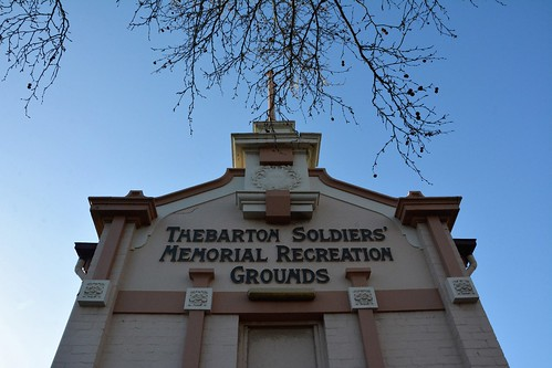 Thebarton Oval / Thebarton Soldiers' Memorial Recreation Grounds Gateway, note the AIF Rising Sun emblem. South Australia