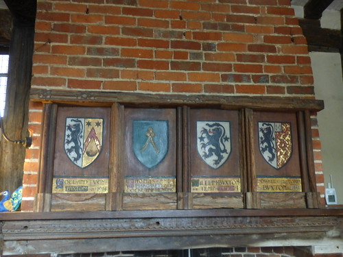 Paycocke's House - Main Hall - Fireplace with coat of arms shields
