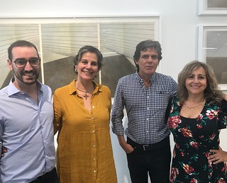 Piero Atchugarry (his Gallery at 5520 NE 4th Ave. Little Haiti) with Manager Mariana Azupurua, artist Willy Castellanos and Curator Adriana Herrera