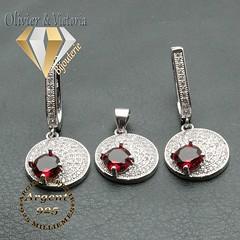 Parure de rubis sur médaille ronde à strass en argent 925 (olivier_victoria) Tags: parure argent 925 boucles oreille boucle doreille pendentif rubis chaine rouge