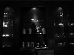 silent café (peaceblaster9) Tags: café cabinet decoration interior light カフェ キャビネット 棚 デコレーション インテリア ランプ osaka 大阪 コーヒーショップ 喫茶店 blackandwhite bnw bw blackwhite monochrome モノクローム モノクロ 白黒