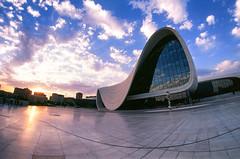 Heydar Aliyev Center Fisheye (Packing-Light) Tags: 35mm azerbaijan baku caucasus eurasia nikonf6 analog emulsion film fujichrome velvia50 rvp street city architecture