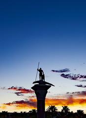 St.George & The Dragon (brucekester@sbcglobal.net) Tags: lasvegas saintgeorge dragon lasvegasstrip sculpture silhouette bluehour clouds venetianplaza