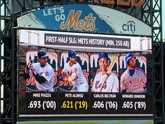 Citi Field, 07/03/19 (NYM v NYY): Pete Alonso is second on the Mets' all-time single season first-half slugging percentage list with .621 (IMG_7254a) (Gary Dunaier) Tags: baseball stadiums stadia ballparks mets newyorkmets flushing queens newyorkcity queenscounty queensboro queensborough citifield