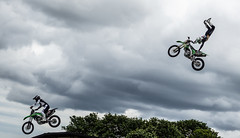 In the air. Flying motorcyclist. (CWhatPhotos) Tags: cwhatphotos flickr summer 2019 day photographs photograph pics pictures pic picture image images foto fotos photography artistic that have which contain olympus durham police bikewise bike wise motorcycle motorbikes motorbike fly flying sky clouds stunt kawasaki green bikers