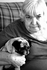 Woman with Pug (Penny Perch) Tags: portrait blackandwhite woman vintage nanny pug oldlady reallife helios whitehair shade seriouslook