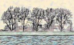 Solitude 679 (Wim Koopman) Tags: drawing pen digital art tree dike water waves river