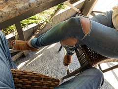 Enjoying the Weather (Mr2D2) Tags: wife latina woman toes jeans pedi bluetoes heels bar legs voyeur