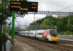 The 14.15 seen at 15.14! (The Walsall Spotter) Tags: virgintrains class390 pendolino tiltingtrain overheadlineequipment overheadwires electric tamworth railway station staffordshire britishrailways networkrail