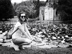 6071 - Arianna & the waterlilies (Diego Rosato) Tags: arianna ritratto portrait water lily ninfea acqua pond stagno rovine ruins park parco giardino garden reggia palazzo reale realm royal palace fuji x30 rawtherapee bianconero blackwhite